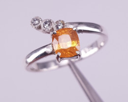 Natural Spessartite and CZ Ring