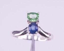 Natural Sapphire/Tsavorite Ring