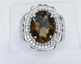 62.87 Crt Natural Smoky Quartz 925 Silver Ring
