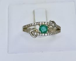 11.33 Crt Natural Emerald 925 Silver Ring