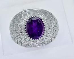 47.05 Crt Natural Amethyst 925 Silver Ring