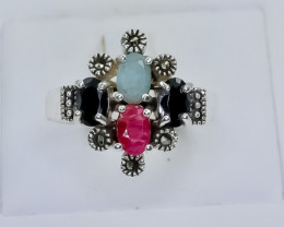 33.85 Crt Natural Ruby Emerald and Sapphire  925 Silver Ring