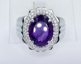 70.33 Crt Natural Amethyst 925 Silver Ring