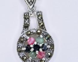 18.26 Crt Natural Ruby Emerald Sapphire  925 Silver Pendant