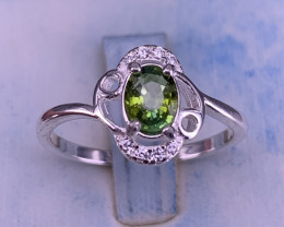 Natural Tourmaline with CZ Ring