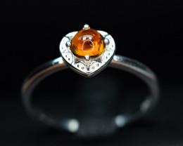 Natural transparent nice color 0.51Carat Tourmaline ,CZ 925 Silver Ring