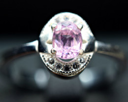 Natural Ultra Rare  Katlang Pakistan Pink Topaz ,CZ 925 Silver Ring