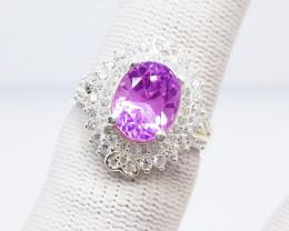 Natural Pink Kunzite (Women Stone) 925 Sterling Silver Ring