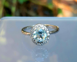 11.00 Carats Round blue topaz with cz  925 Silver Ring, 6x6x4mm