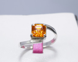 Natural Imperial Topaz CZ Ring 925 Sterling Silver