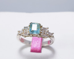 Natural Sea Blue Aquamarine Ring  925 Sterling Silver