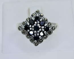 27.77 Crt Natural Sapphire 925 Sterling Silver Ring