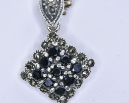 12.92 Crt Natural Sapphire 925 Sterling Silver Pendant