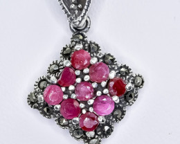 12.84 Crt Natural Ruby 925 Sterling Silver Pendant