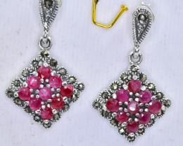 25.77 Crt Natural Ruby 925 Sterling Silver Earrings