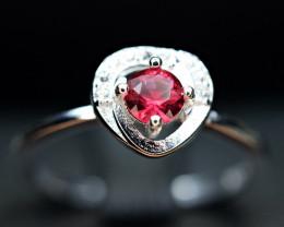 Natural top Burmese 0.23Carat Top Hot Pink Clean Spinel ,CZ 925 Silver Ring