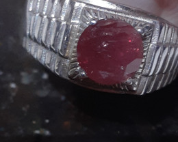Sterling silver ring with Genuine natural Ruby with Evaluation certificate