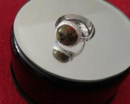UNAKITE GEMSTONE RING STERLING SILVER 925 SIZE 5.75
