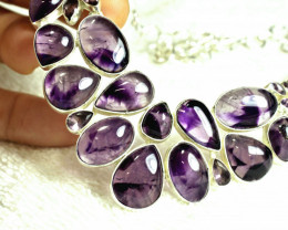 351.0 Tcw. Amethyst / Sterling Silver Necklace - Gorgeous