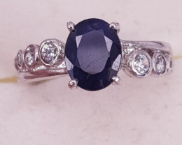Natural Sapphire And CZ Ring.