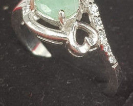 Natural Emerald and CZ Rings.