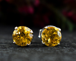 Stunning Genuine Citrine Ear Studs / Earrings In .925 Silver