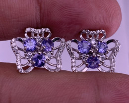 Natural Tanzanite Earring with Cz