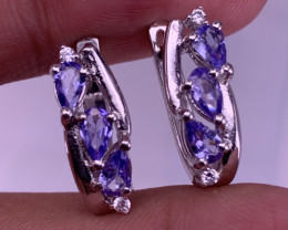 Natural Tanzanite Earring with CZ.