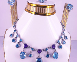 Swiss Blue Topaz And Amethyst Full Set