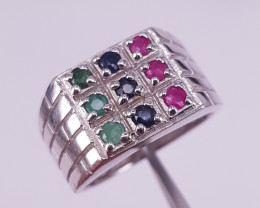 Men Natural Emerald Sapphire and Ruby Ring