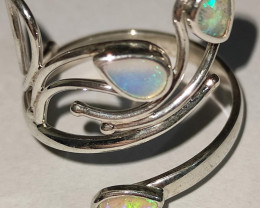 Open 950 silver ring with solid drop opal