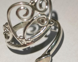 Open 950 silver ring with drop solid opal