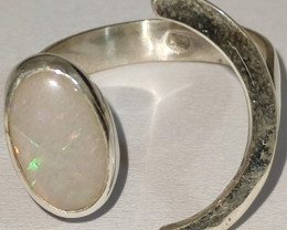 Open 950 silver ring with solid-oval opal