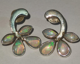 Silver earring 950, solid opal drop
