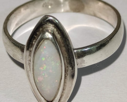 Open 950 silver ring with solid opal - navette