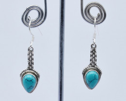 TURQUOISE EARRINGS 925 STERLING SILVER NATURAL GEMSTONE JE142