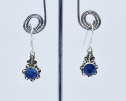 BLUE SAPPHIRE EARRINGS 925 STERLING SILVER NATURAL GEMSTONE JE143