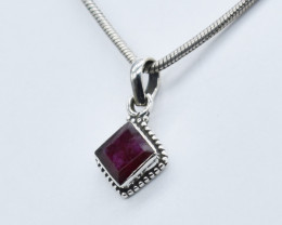 RUBY PENDANT 925 STERLING SILVER NATURAL GEMSTONE JP144