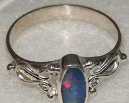 Open 950 silver ring with opal doublet - oval