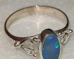 950 silver open ring with opal doublet - oval