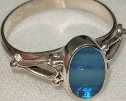 Silver ring 950 with opal doublet- oval