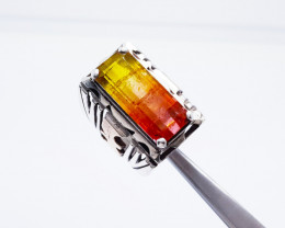 Natural 18 Cts Watermelon  Tourmaline Ring 925 Sterling Silver
