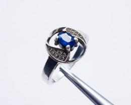 Natural Ceylon Blue Sapphire ring 925 Sterling Silver