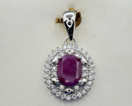 Natural Ruby, CZ and 925 Silver Pendant, Elegant Design