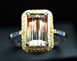 3.95Carat Bi Tourmaline 40pis yellow/blue Sapphire 925 Silver Ring