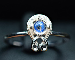 Natural Top Round Full Multi Rainbow Moonstone Cabochon ,CZ 925 Silver Ring