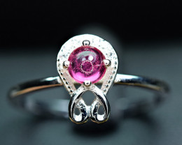 Natural top transparent 0.36Ct Pink Tourmaline ,CZ 925 Silver Ring