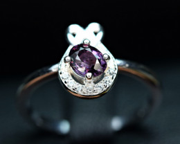 Natural top Burmese Purple Spinel ,CZ 925 Silver Ring