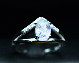 Natural fluorescent Lazurite inside wernerite scapolite ,CZ 925 Silver Ring