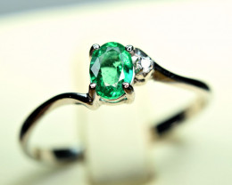 Natural Top color Transparent Emerald ,Sapphire 925 Silver Ring
